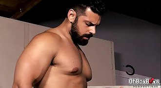 Bear with big dick barebacks with Roman in the ass so rough