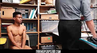 Black Lad Caught Shoplifting Fucked By White Security Officer